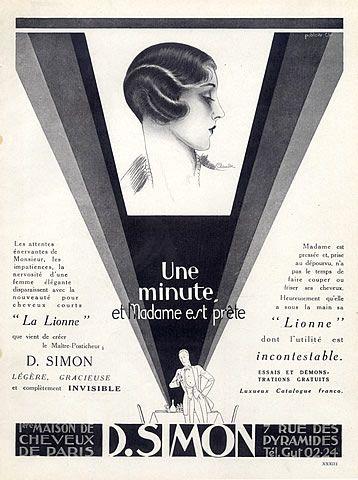 D Simon (Hairstyle) 1925 Claude, Art Deco Style Vintage advert - Magazine Deco Maison Gratuit