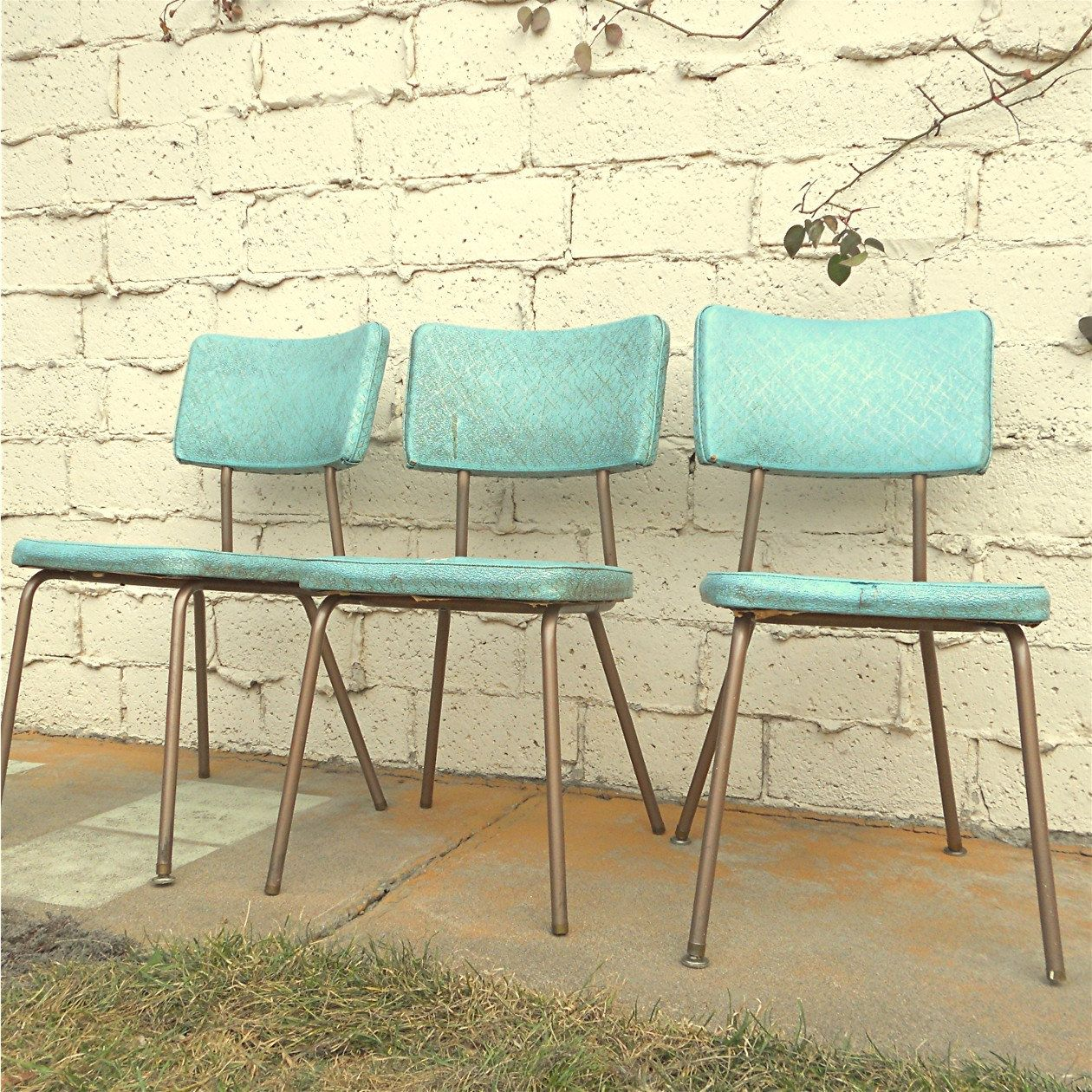 vintage kitchen chairs wall designs for three vinyl turquoise local pick up 30 00 via etsy