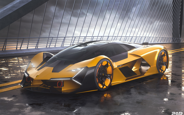 Download wallpapers 4k, Lamborghini Terzo Millennio, street, hypercars, 2019 cars, italian cars, yellow Terzo Millennio, supercars, Lamborghini besthqwallpapers.com
