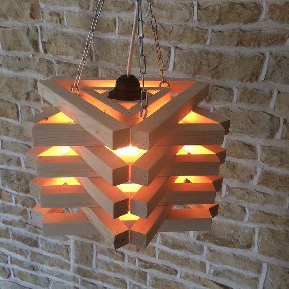 Lámpara colgante con luz de techo de madera de madera colgante | Etsy