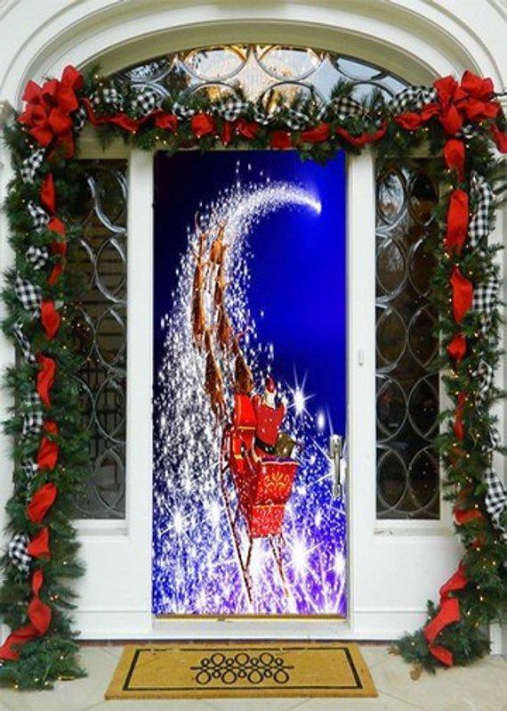 Christmas Door Covers.Magical Sleigh Door Decoration Christmas Door Covers