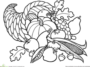 Color The Cornucopia Worksheet Education Com Fall Coloring Pages Thanksgiving Coloring Pages Coloring Pages