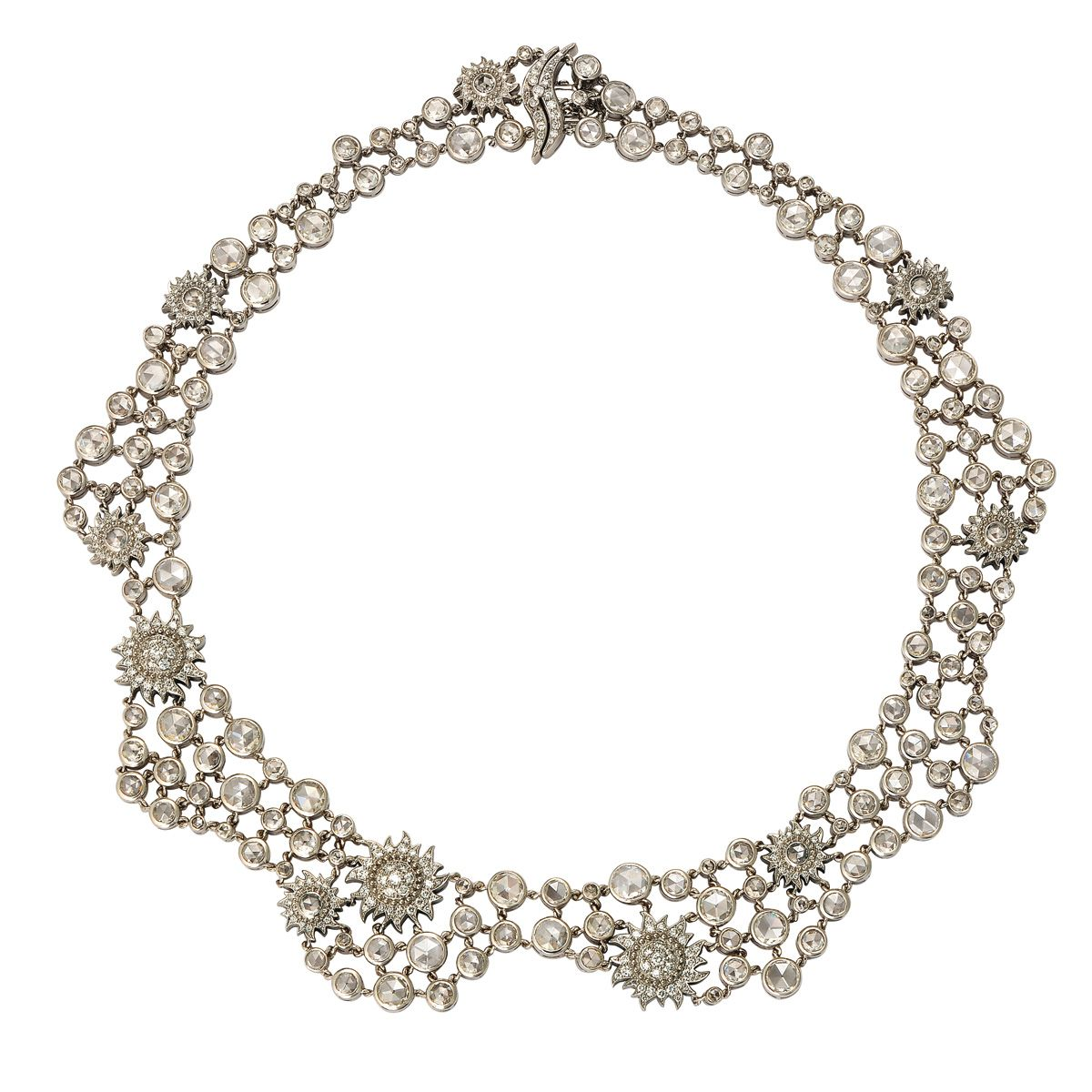 Ava necklace in karat white gold and rosecut diamonds sparkly