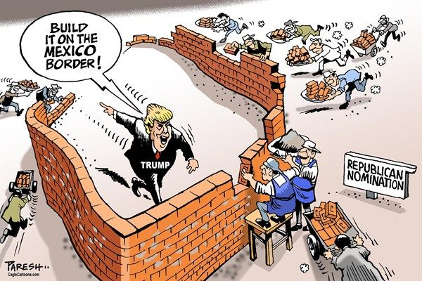 Image result for CARTOONS ABOUT TRUMP AND THE WALL