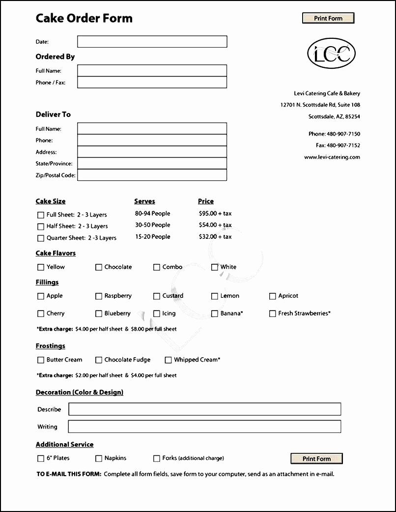 Cake Order Forms Templates Luxury Cake Order Form Template Free Cake Order Forms Order Form Template Order Form