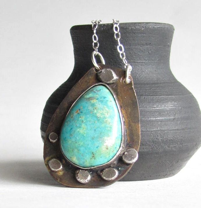 Turquoise and Bronze Necklace - Sterling Silver Accents