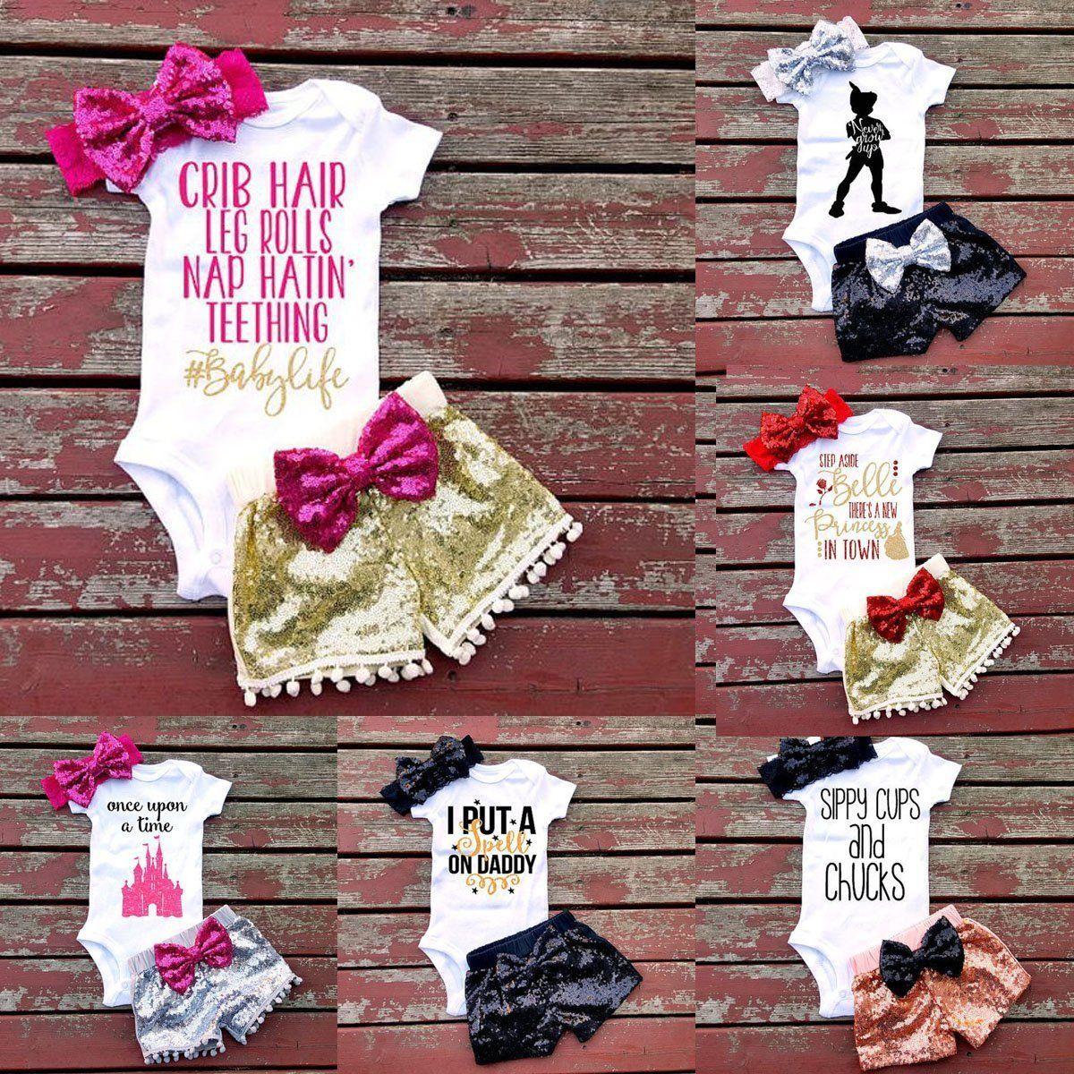 Newborn 3PCS Infant Baby Girls Outfit Clothes Romper Jumpsuit Bodysuit+Pants Set