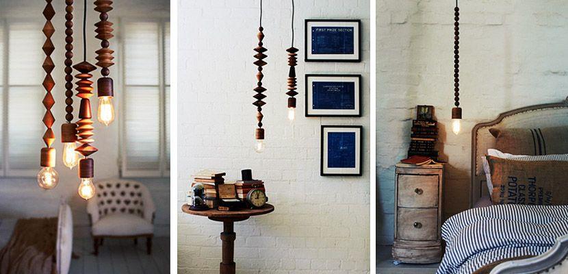 Como adornar lámparas desnudas con cuentas de madera | Adornar ...