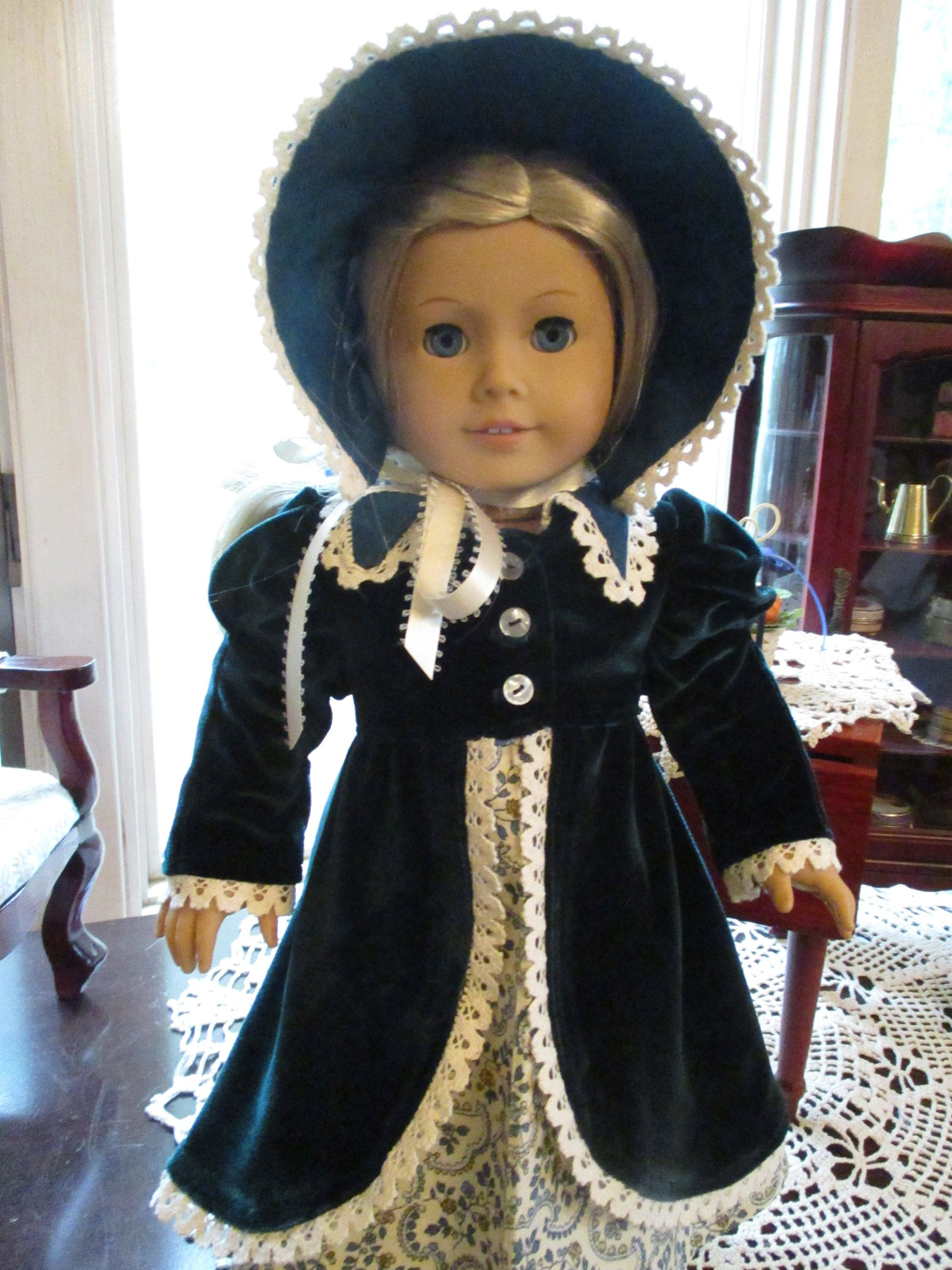 Regency Era Historic Doll Coat and Bonnet to fit your 18 American Girl Doll in Blue Velvet by Emmakate0 on Etsy #historicaldollclothes