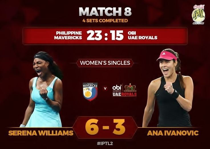 12/6/15 iptl  ·  Good tennis from Serena Williams. She wins the fourth set 6-3 for the Mavericks! 24 mins. #BreakTheCode #IPTL2
