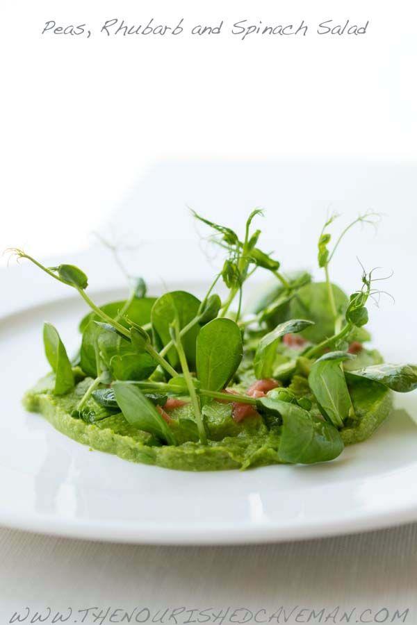 Peas, Rhubarb and Spinach Salad. thenourishedcaveman.com