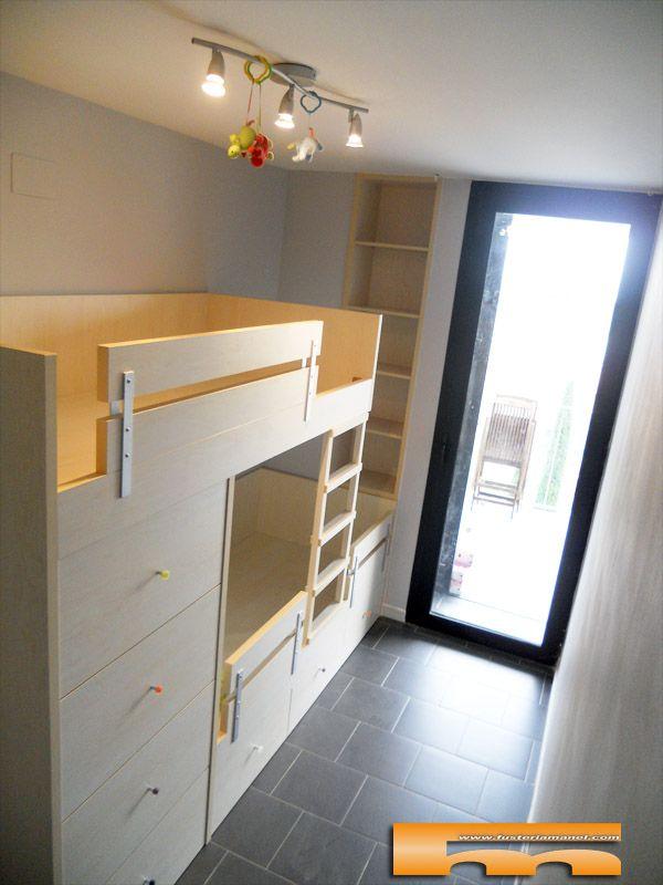 Litera tren a medida para habitacion infantil proyecto de para el papiol - Literas para habitaciones pequenas ...