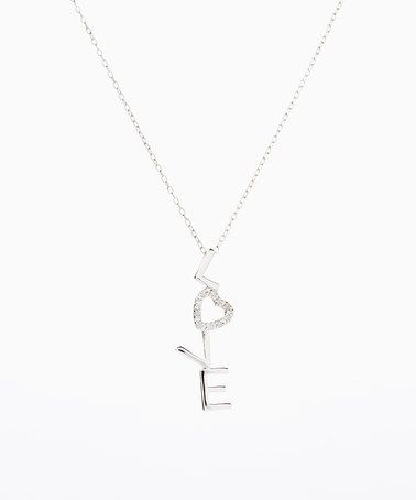 Another great find on #zulily! Sterling Silver & Diamond Heart 'Love' Pendant Necklace #zulilyfinds