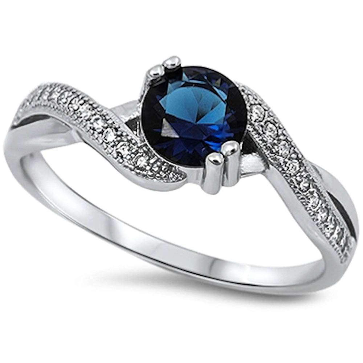 Round Simulated Blue Sapphire and White Cubic Zirconia