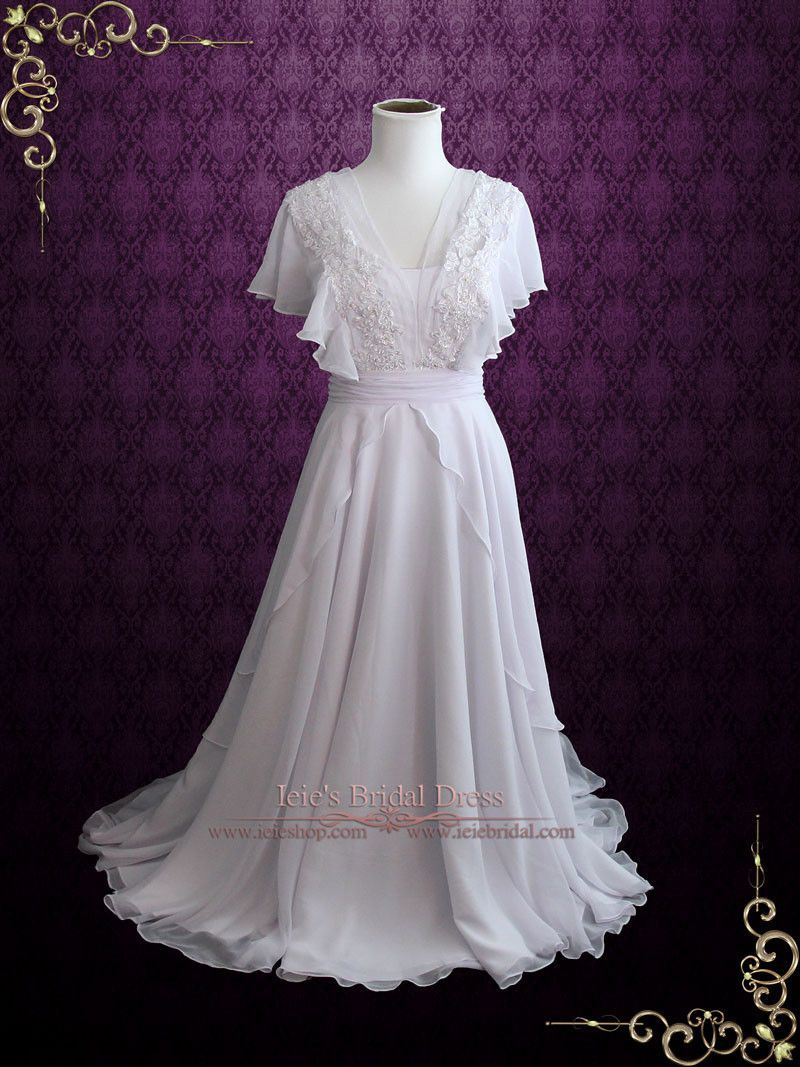 Chiffon wedding dresses  Beach Whimsical Grecian Chiffon Wedding Dress with Butterfly Sleeves