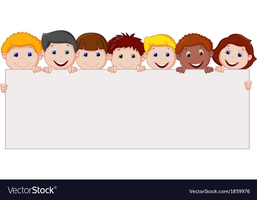 Kids Cartoon With Blank Sign Vector Image On Ideias Criativas Ideias Criatividade