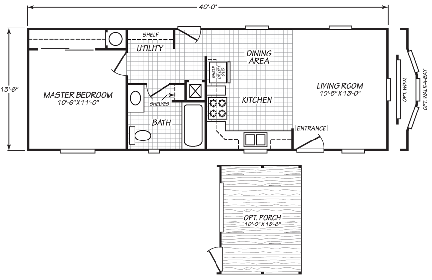 EV1 14 X 40 533 sqft Mobile Home Mobile home floor plans