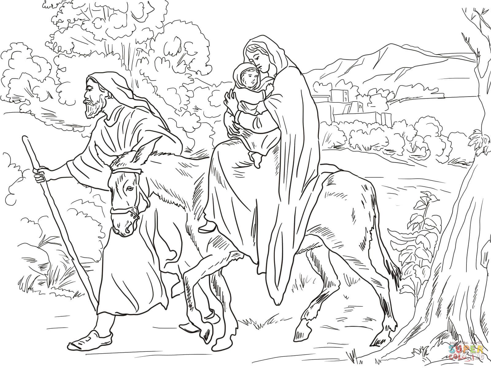 Mary And Joseph Flight Into Egypt Coloring Page From Jesus