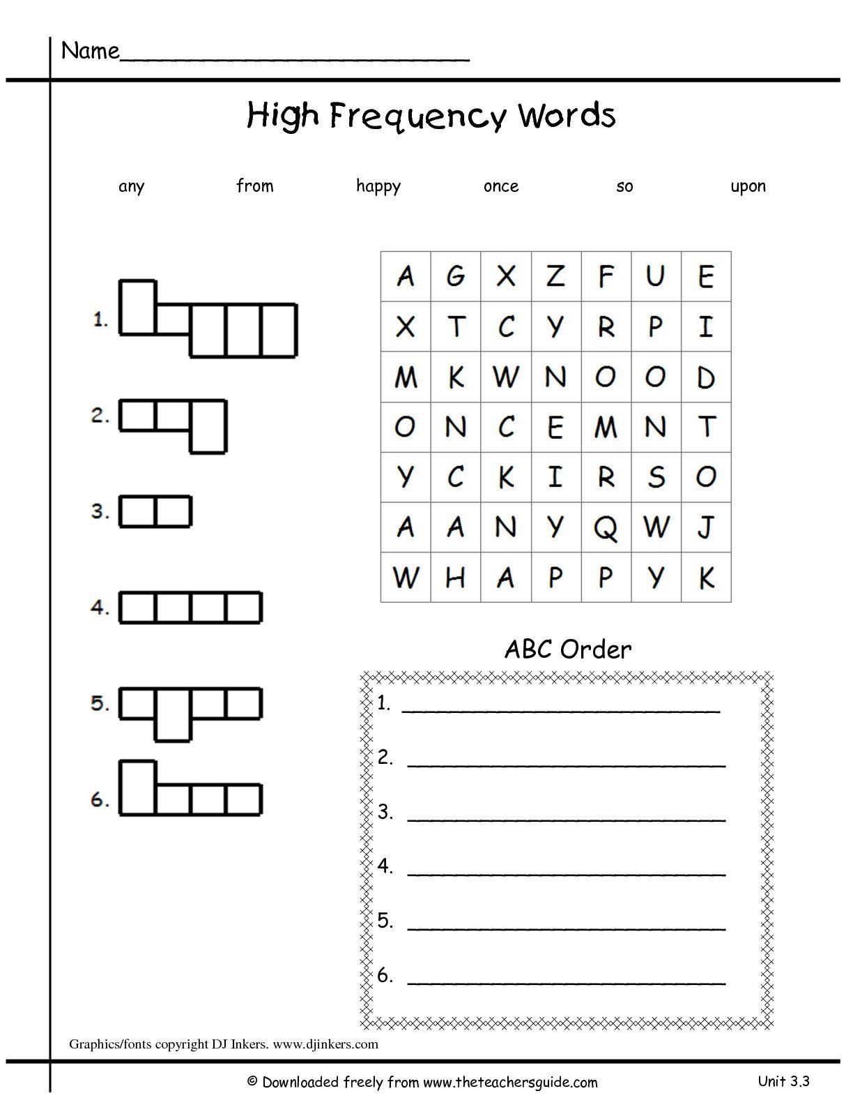 Words In Alphabetical Order Worksheets Sight Word
