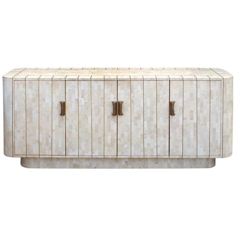 Exceptional Modernist Tessellated Stone with Brass Sideboard - boca do lobo sideboard designs