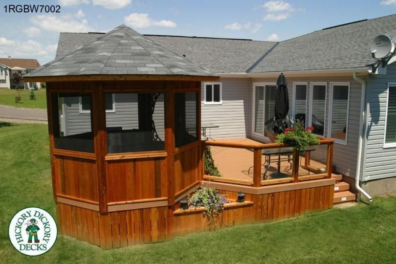 good decks with gazebos #5: Deck and gazebo plans for a large, single level deck, and 10 ft. diameter  gazebo, with planter boxes.