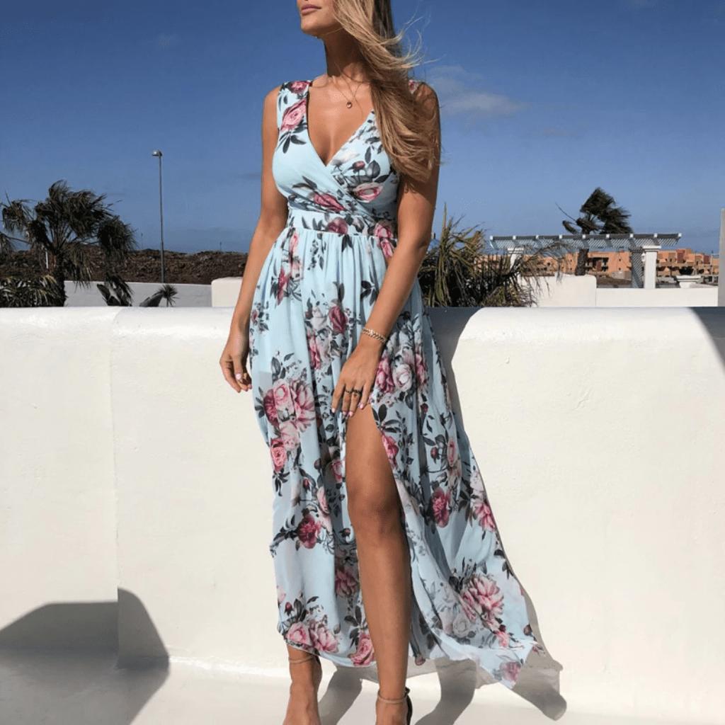 Chiffon Floral Maxi Dress Sleeveless Summer Dresses Floral Chiffon Maxi Dress Chiffon Summer Dress Maxi Dresses Casual [ 1024 x 1024 Pixel ]