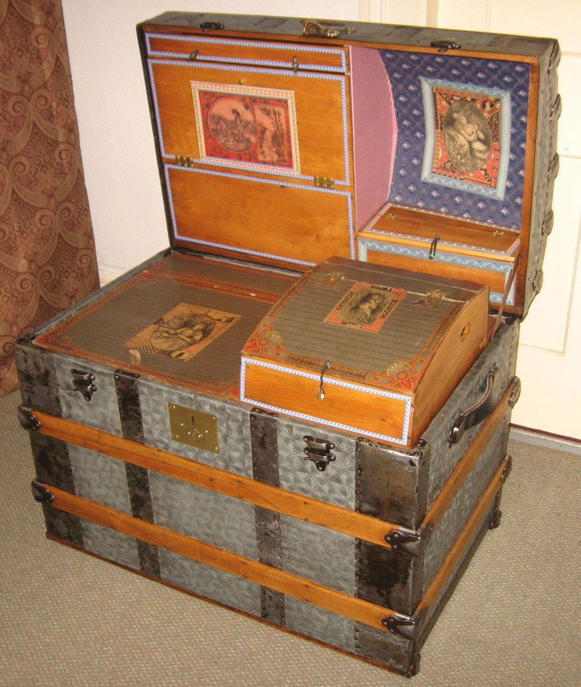 Antique Steamer Trunk Vintage Victorian Dome Top Wedding Or Brides Travel Chest Vintage Steamer Trunk Antique Steamer Trunk Steamer Trunk