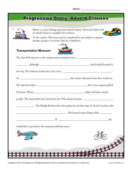 Progressive Story Adverb Clauses Adverbs And Worksheets