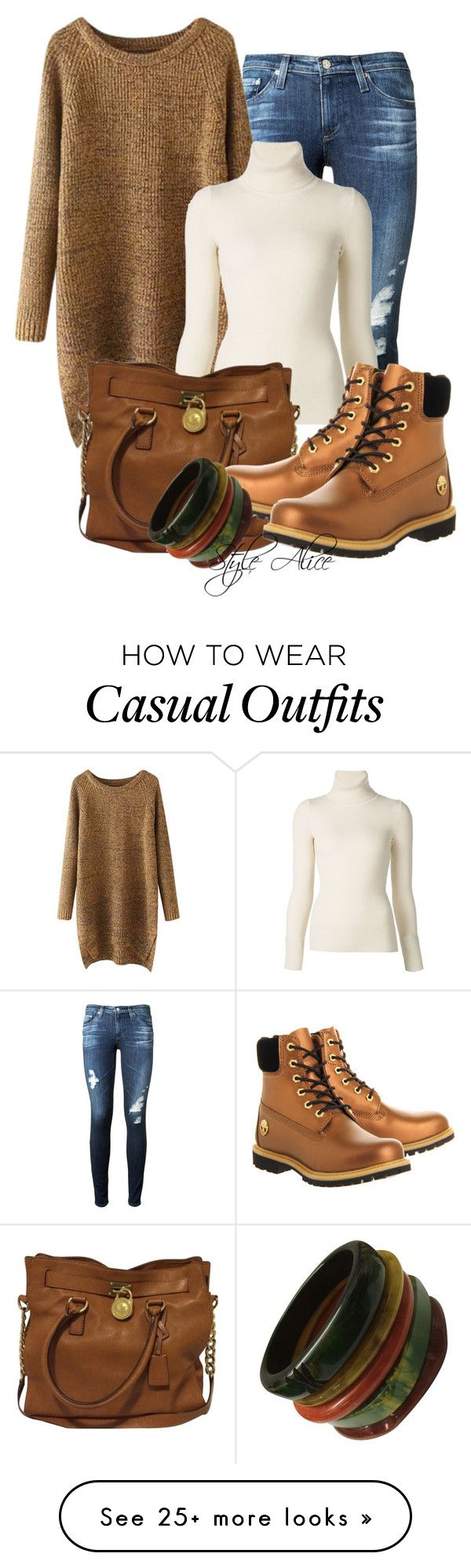 """Casual"" by alice-fortuna on Polyvore featuring AG Adriano Goldschmied, Chicnova Fashion, Emanuel Ungaro, MICHAEL Michael Kors and Timberland"