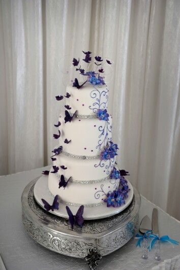 My Beautiful 4 Tier White Wedding Cake With Purple And Blue