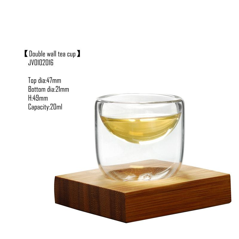 Glass cups with bamboo tray