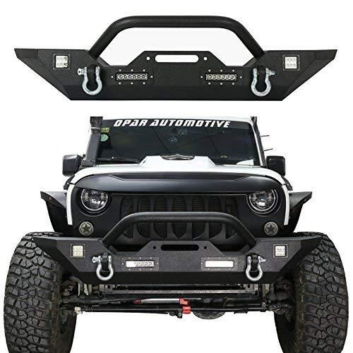 Hooke Road 2007-2018 Jeep Wrangler JK Different Trail Front Bumper w//Winch Plate /& 4X LED Accent Lights Textured Black Finished