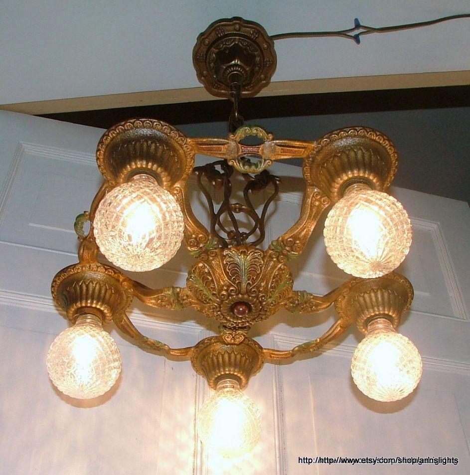 Antique Lighting Original Art Deco Vintage 1930 Cast Iron 5 Bulb Chandelier Hanging Ceiling Light Fixture Gold Red Green Accent Parts