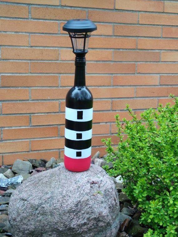 Wine Bottle Lighthouse Solar Garden Light flowersbed   Etsy