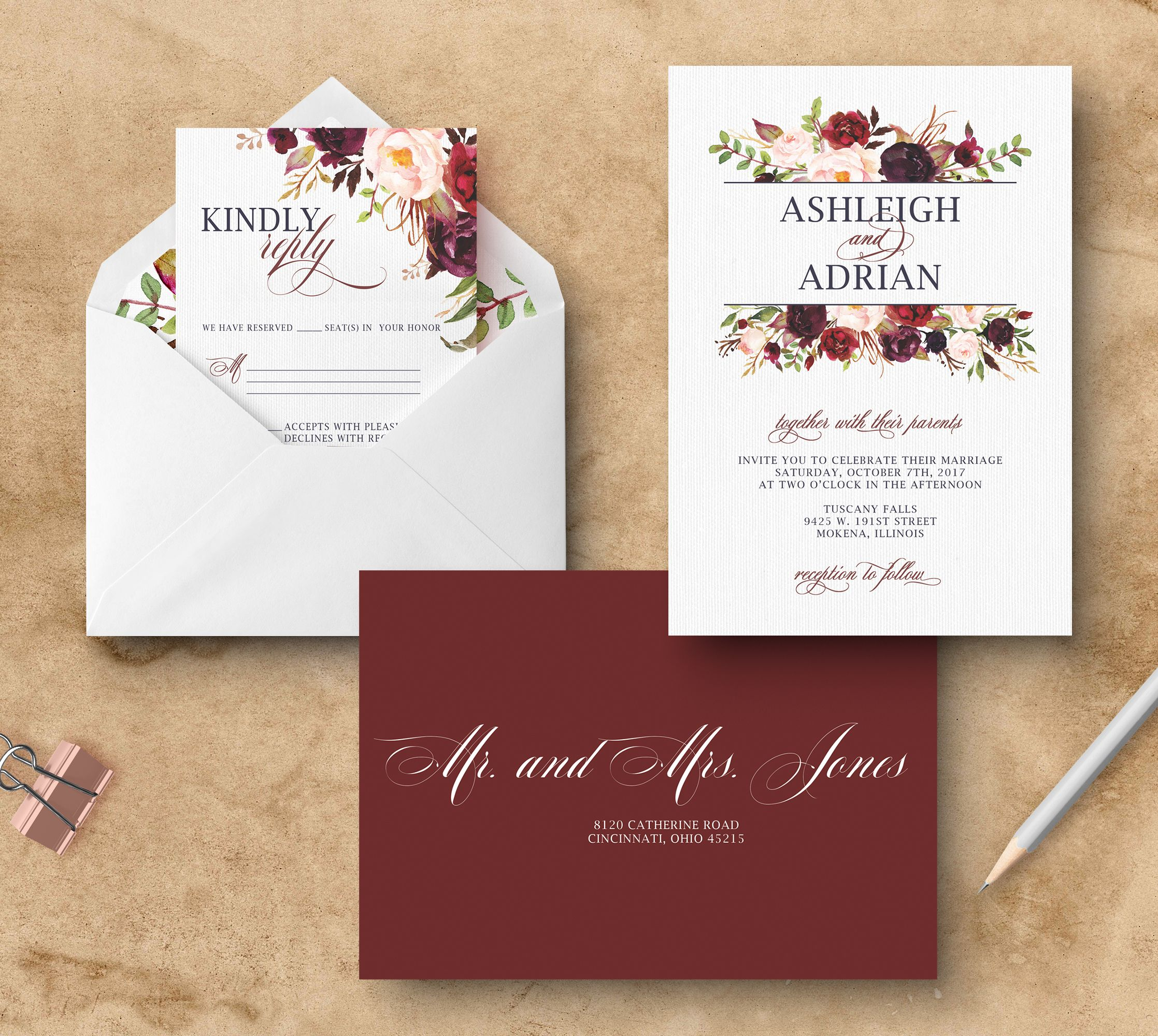 Marsala wedding invitation. Floral burgundy wedding invitation ...