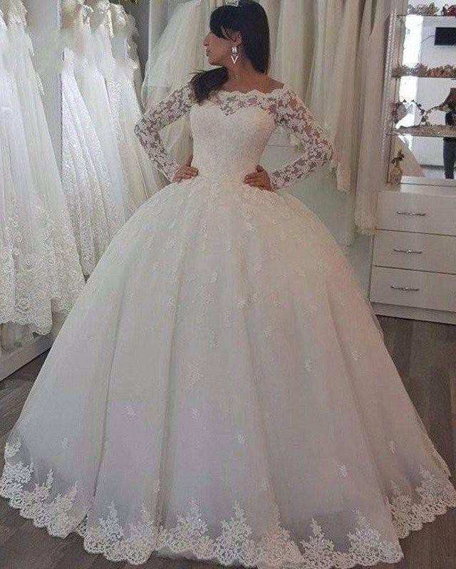 Elegant White Hochzeitskleider Mit Spitze rmel Prinzessin Brautkleider Gnstig Modellnummer