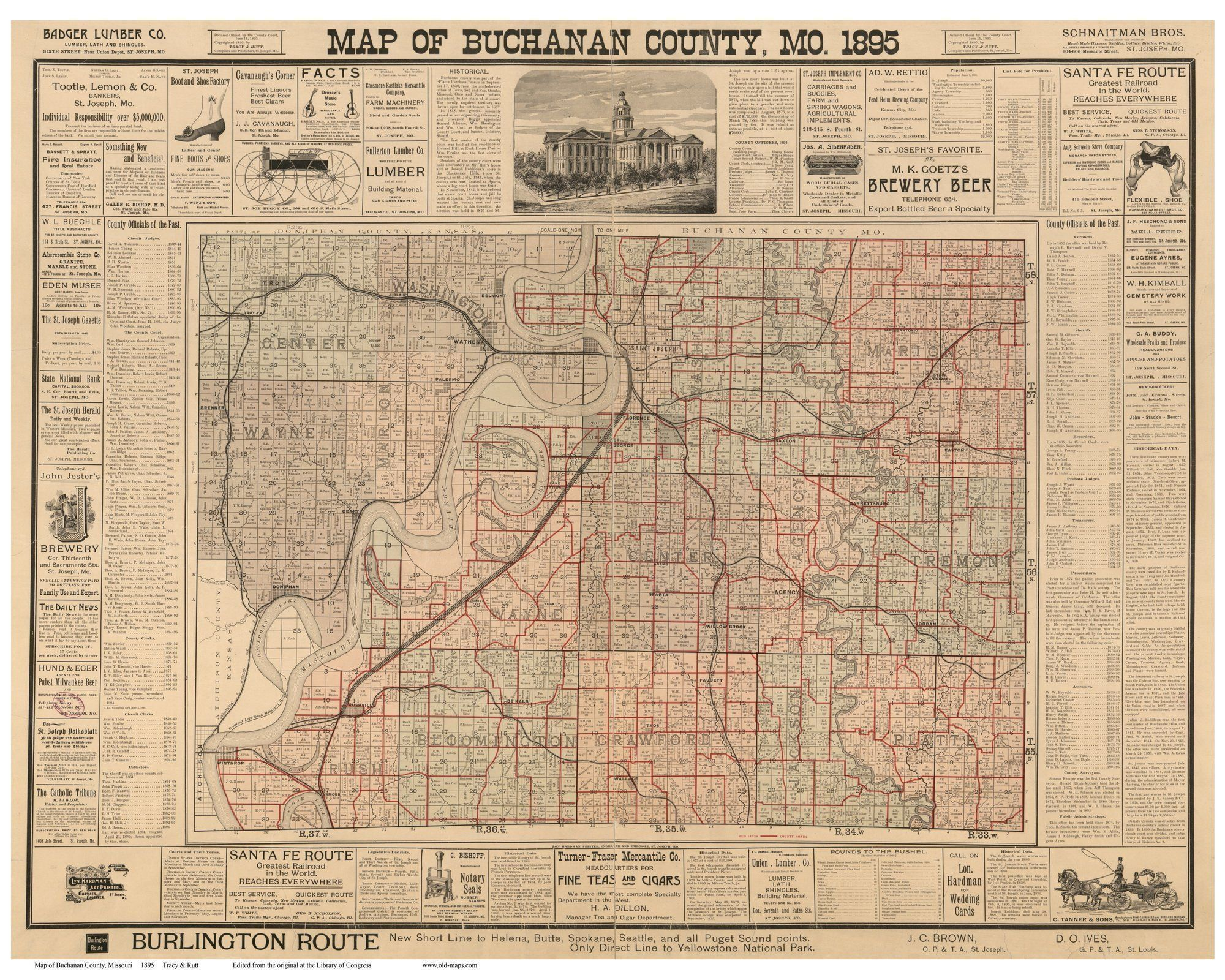 Buchanan County Missouri Wall Map With Landowner Names - Missouri breweries map
