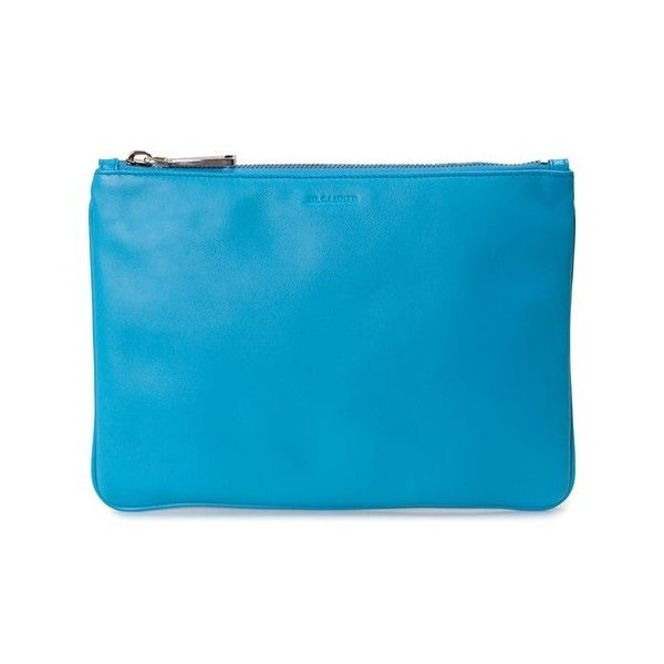 JIL SANDER Envelope leather clutch bag ($324) ❤ liked on Polyvore featuring bags, handbags, clutches, blue, jil sander, jil sander handbag, jil sander purse, genuine leather purse and zipper purse