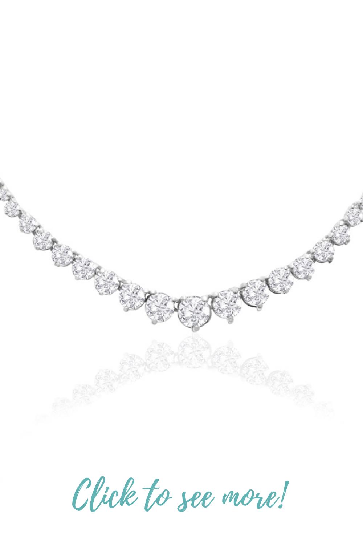 Graduated 10 Carat Diamond Tennis Necklace In 14 Karat White Gold Superjeweler Tennis Necklace Diamond Tennis Necklace Wedding Jewelry