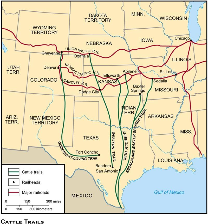 Cattle Trails Tx Mapjpg American Frontier Pinterest - Map of us livestock population