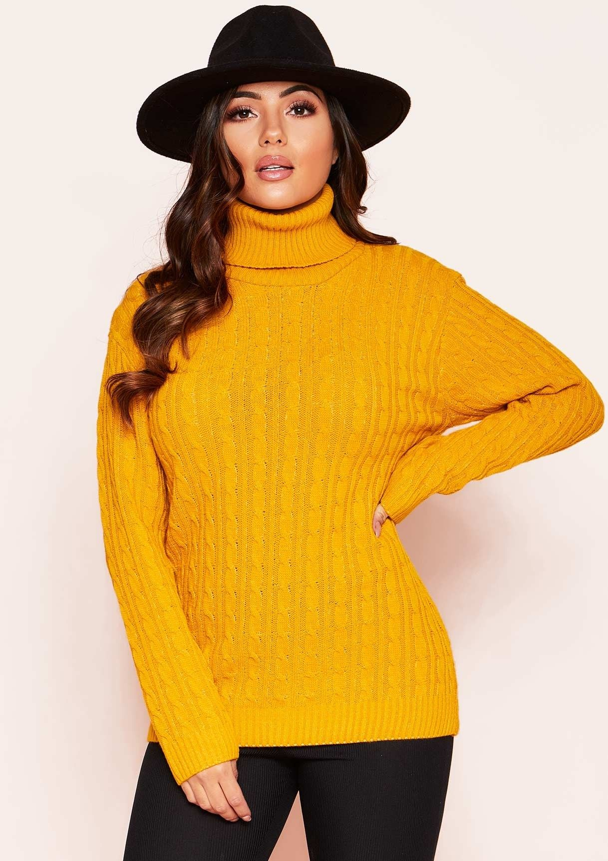 c64a49ad8a Missyempire - Isla Mustard Roll Neck Knitted Cable Jumper