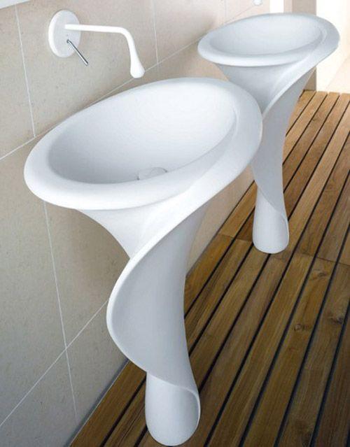 Elegant Flower Shaped Pedestal Sinks Bathroom Sink Design