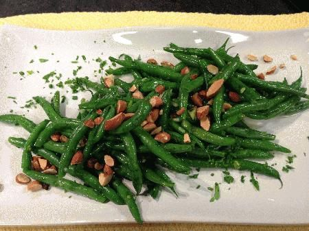 Garlicky Green Beans with Toasted Almonds - by Chef Martha Vining of Blue Ridge Food Ventures, using frozen green beans from Winter Sun Farms