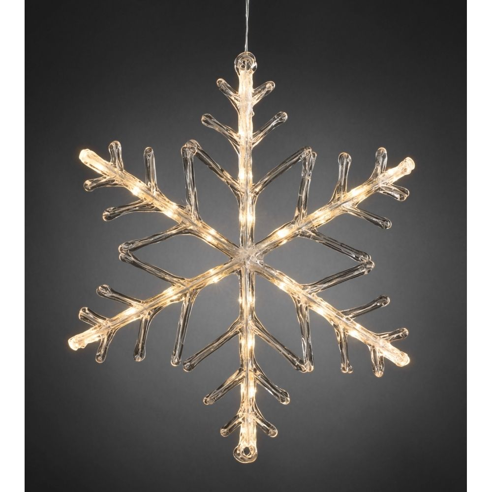 snowflake outdoor christmas light 40cm warm white led battery operated
