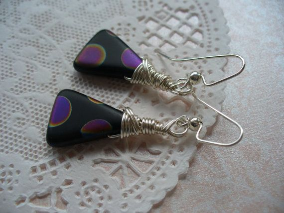 Black Triangle with Peacock Dots Wire Wrapped by DLAbeaddesign ...