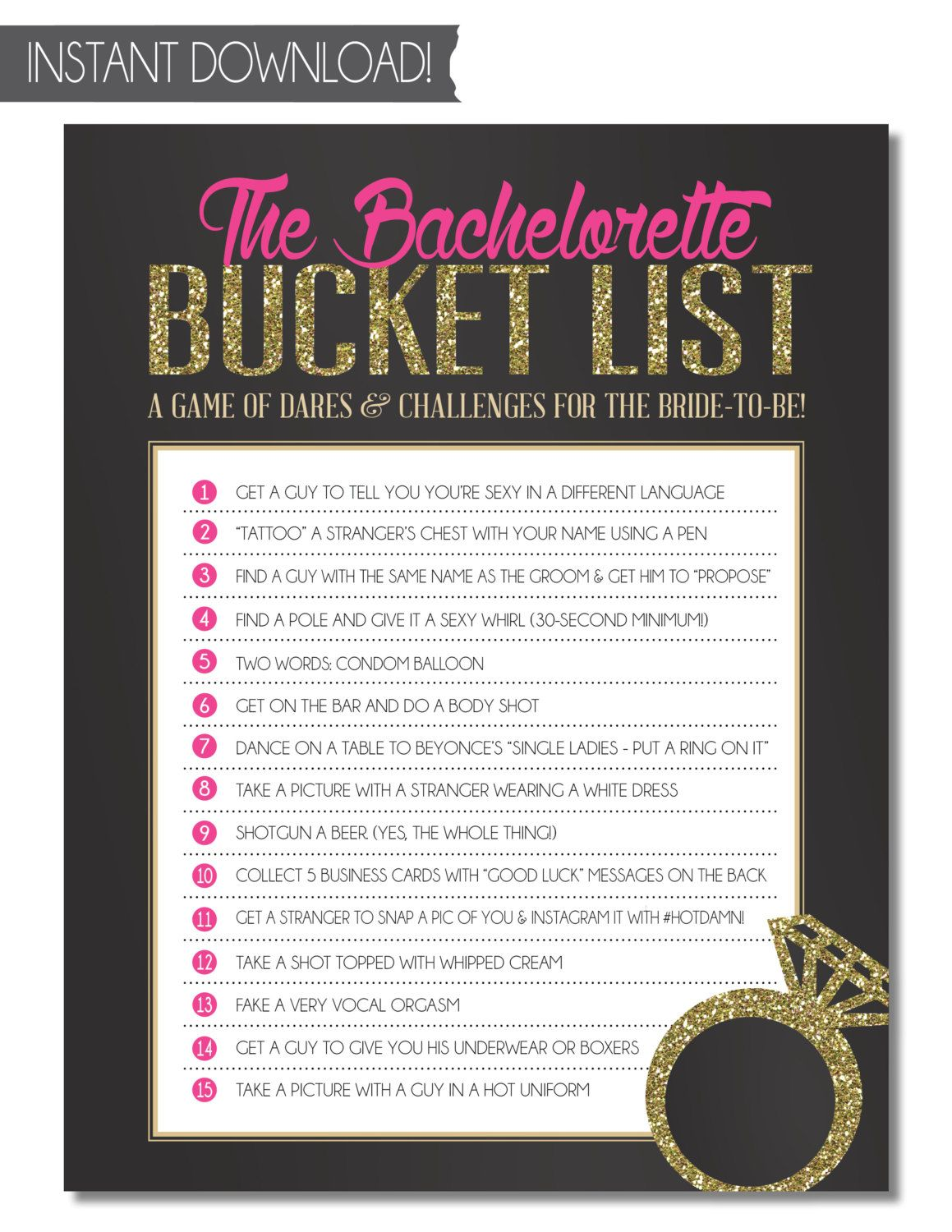 Bachelorette Party Game Bucket List INSTANT by