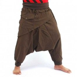 Photo of 3/5 Aladdin pants – brown with fabric appliqué and bag