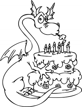 Ausmalbild Drache Mit Geburtstagskuchen Geburtstag Malvorlagen Malvorlagen Zum Ausdrucken Malbuch Vorlagen