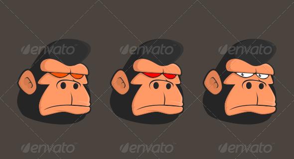 Gorilla Head Vector Graphics Design Illustration Design Cartoon