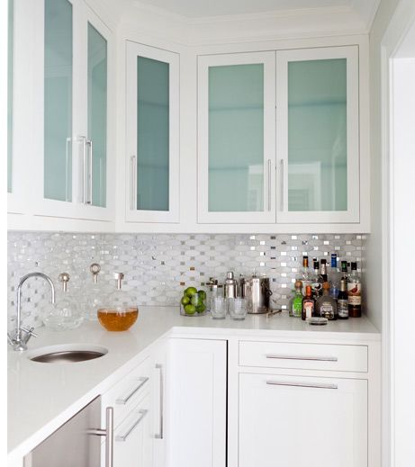 Love The Backsplash It S Like Confetti In The Kitchen Design By Morgan Harrison Ho Glass Kitchen Cabinet Doors Modern Kitchen Cabinets Glass Kitchen Cabinets